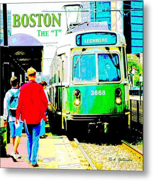 The T Trolley Boston Massachusetts Metal Print