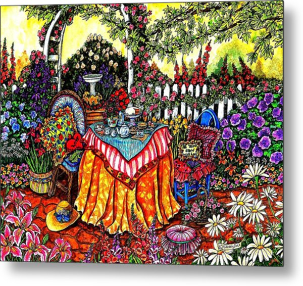 The Tea Party Metal Print by Sherry Dole