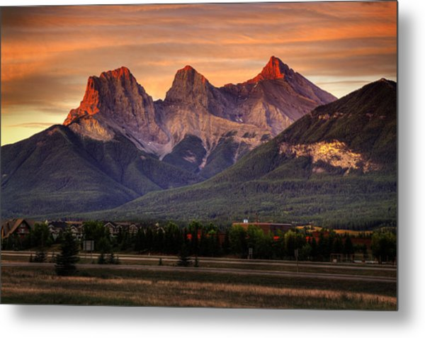 The Three Sisters Canmore Metal Print