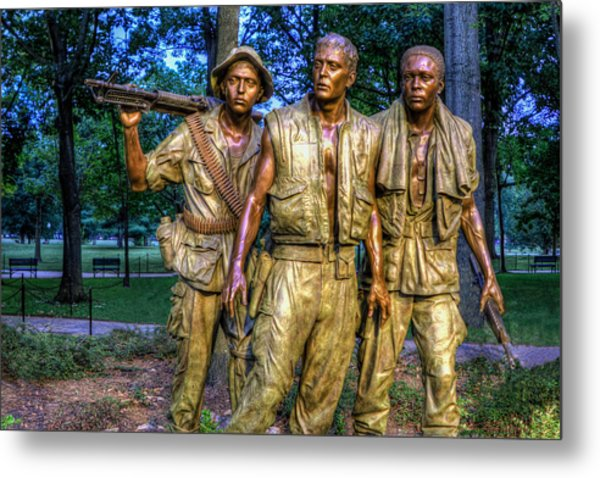 The Three Soldiers Facing The Wall Metal Print