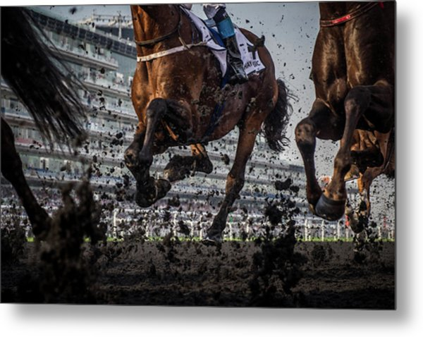 The Thunder Of The Hooves Metal Print by Sharon Lee Chapman