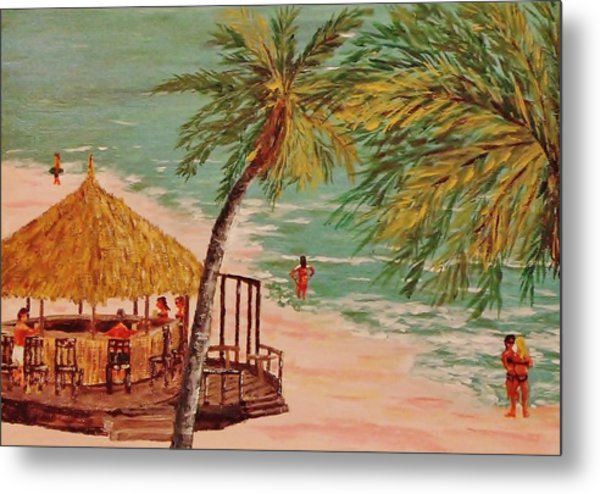 The Tiki Bar Is Open Metal Print