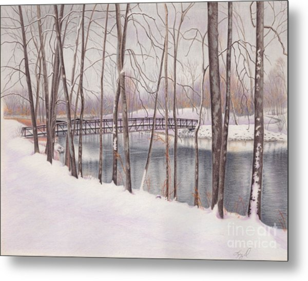 The Tulip Tree Bridge In Winter Metal Print by Elizabeth Dobbs