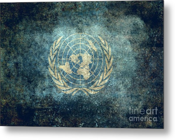 The United Nations Flag  Vintage Version Metal Print