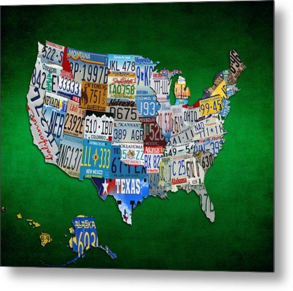 The Usa License Tag Map 4g Metal Print