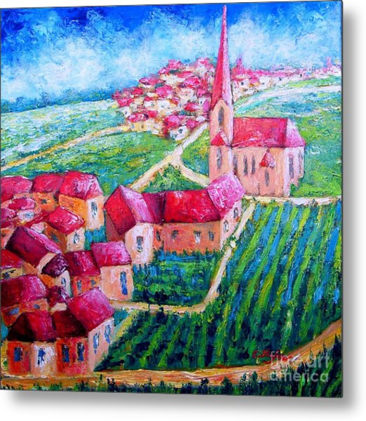 Metal Print featuring the painting The Village by Cristina Stefan