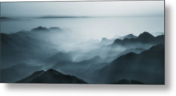 The Village In The Morning Mist Metal Print