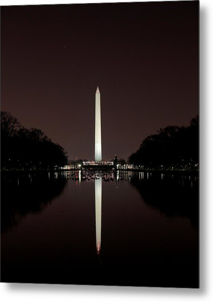 The Washington Monument - Reflections At Night Metal Print