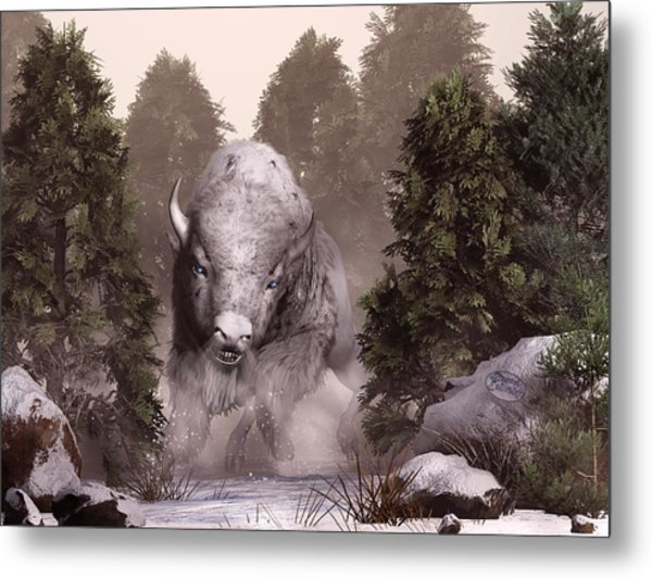 Metal Print featuring the digital art The White Buffalo by Daniel Eskridge