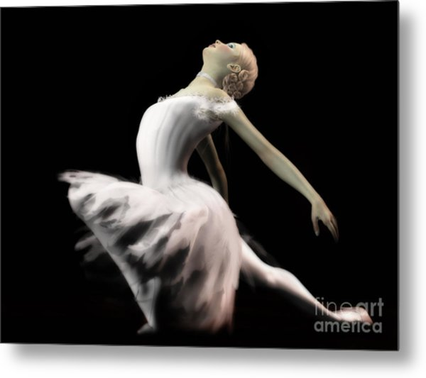 The White Swan - Ballerina Metal Print