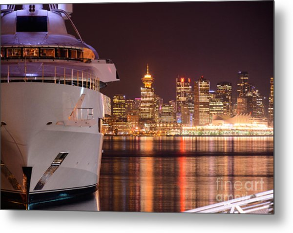 The White Yacht Metal Print