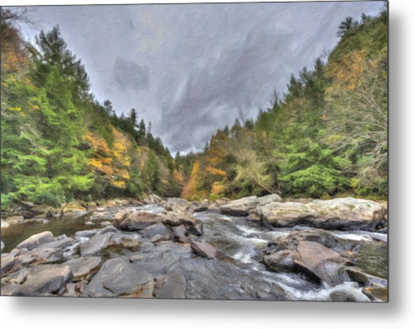 The Wild River Oil Painting Metal Print