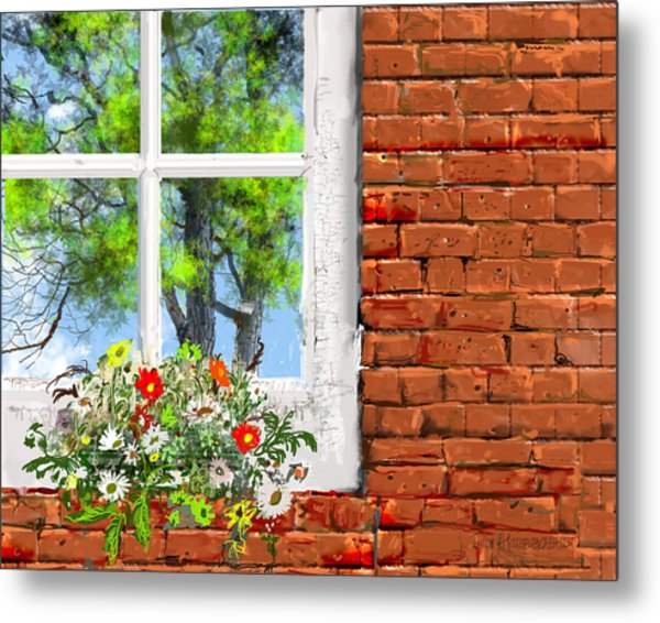 The Window Triptych Summer Metal Print by Jim Hubbard
