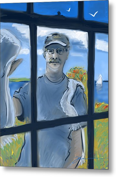 The Window Washer Metal Print