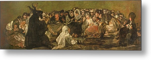 The Witches Sabbath Or The Great He-goat, One Of The Black Paintings, C.1821-23 Oil On Canvas Metal Print