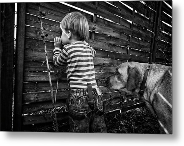 The World From Behind The Fence Metal Print