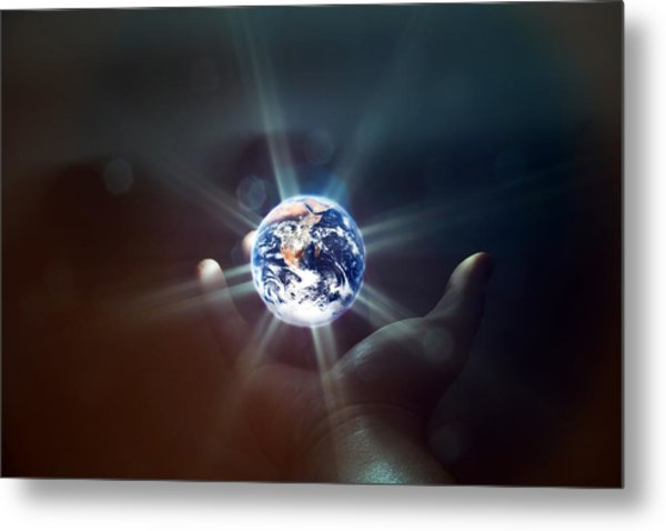 The World In The Palm Of Your Hand Metal Print