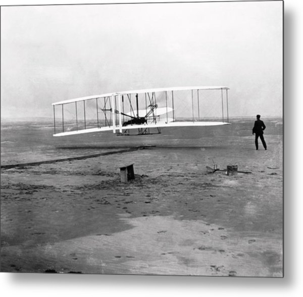 The Wright Brothers' First Powered Flight Metal Print