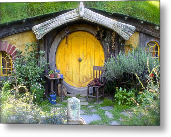Yellow Hobbit Door Metal Print
