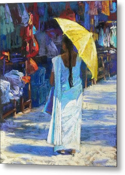 The Yellow Umbrella Metal Print by Jackie Simmonds