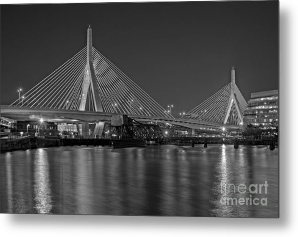 The Zakim Bridge Bw Metal Print