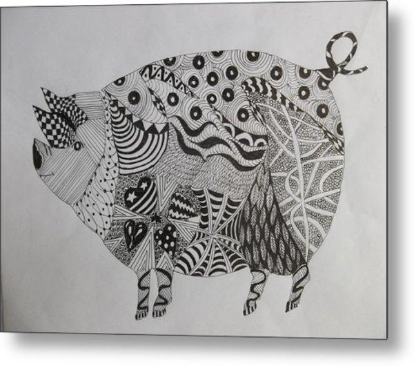 The Zen Pig Metal Print