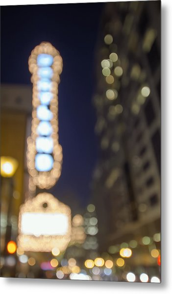Theater Marquee Lights On Broadway Bokeh Background Metal Print