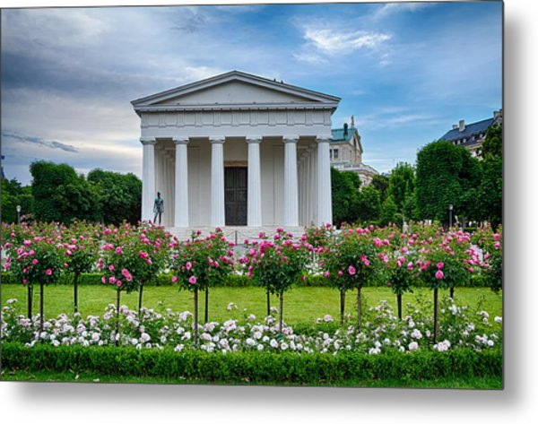 Theseus Temple In Roses Metal Print by Viacheslav Savitskiy