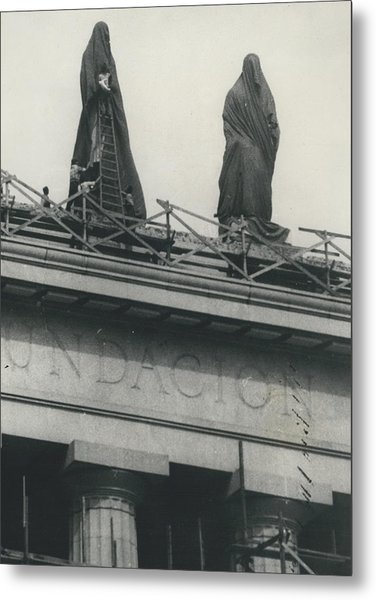They Don't Like Them Any More; Peron Statues - Covered In Metal Print by Retro Images Archive