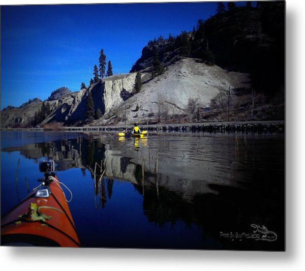 Thin Ice Kayaking Skaha Lake Metal Print