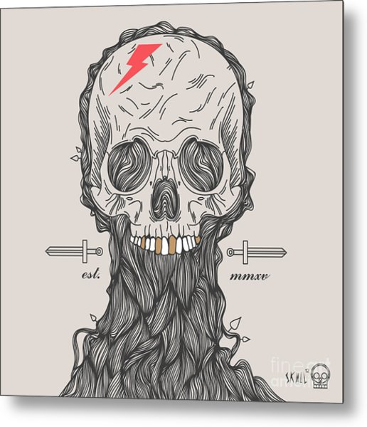 Thin Line Skull Label. Retro Vector Metal Print