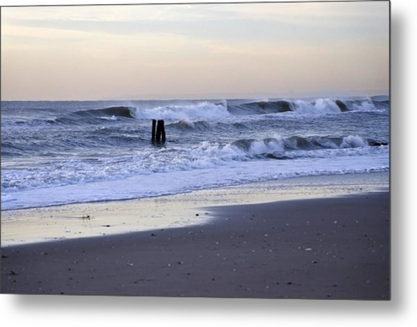 Think Metal - Morning Ocean Rockaways Metal Print
