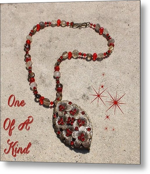 This One Of A Kind Necklace Is Made Metal Print