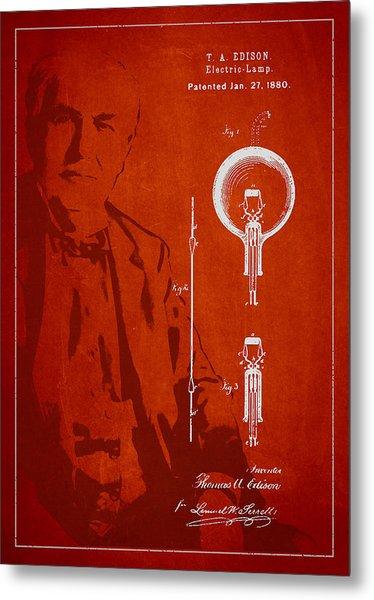 Thomas Edison Electric Lamp Patent Drawing From 1880 Metal Print