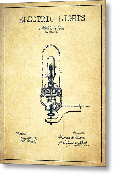 Thomas Edison Electric Lights Patent From 1880 - Vintage Metal Print