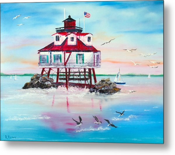 Metal Print featuring the painting Thomas Point Lighthouse by Kevin  Brown