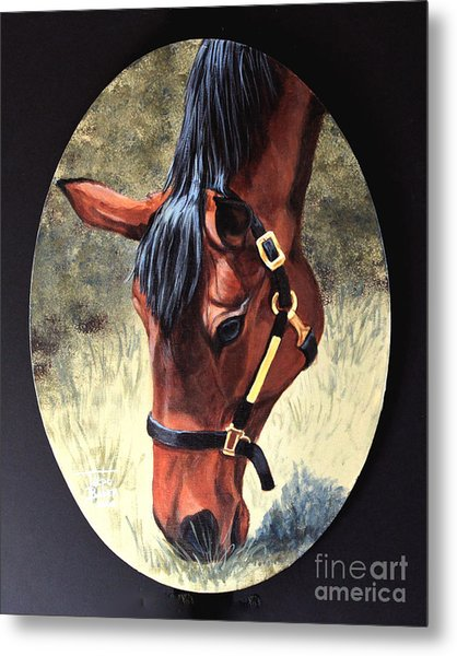 Thoroughbred Head Metal Print