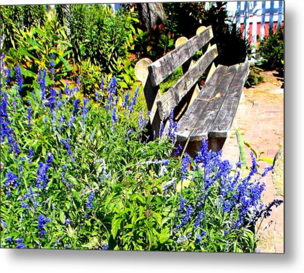 Thoughts On The Weathered Bench Metal Print