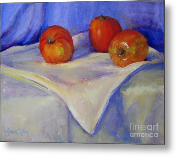 Three Apples With Blue And White Metal Print