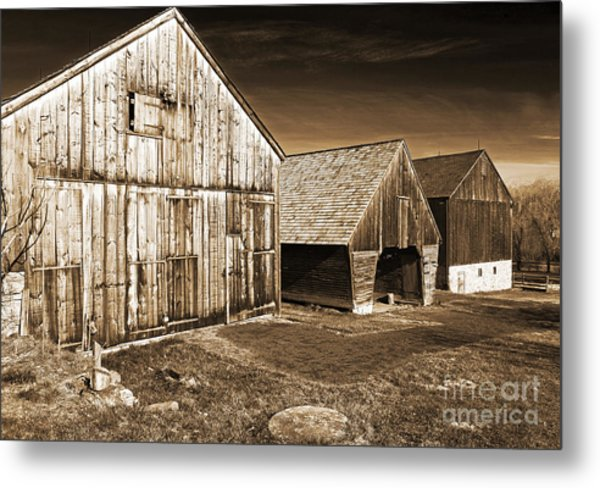 Three Barns Metal Print by John Rizzuto
