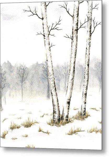 Three Birches In Late Winter Metal Print by Anna Bronwyn Foley