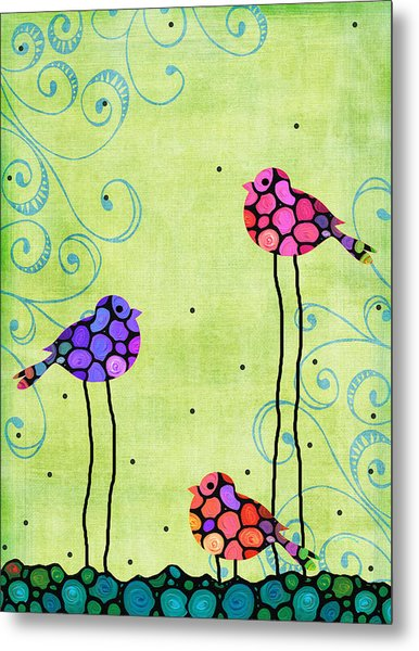 Three Birds - Spring Art By Sharon Cummings Metal Print