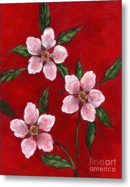 Three Blossoms On Red Metal Print