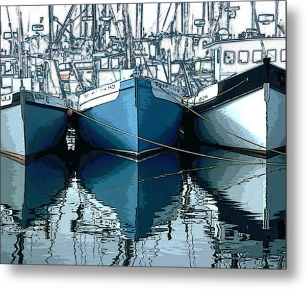 Three Boats In Blue Metal Print