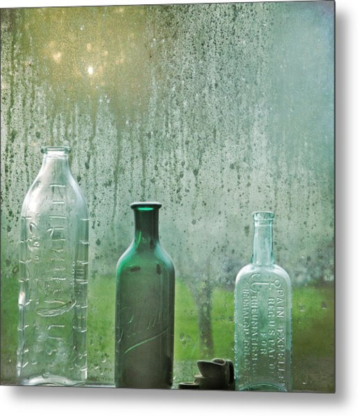 Metal Print featuring the photograph Three Bottles by Sally Banfill