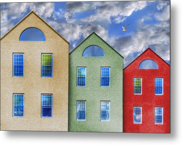 Three Buildings And A Bird Metal Print