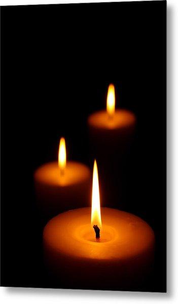 Three Burning Candles Metal Print