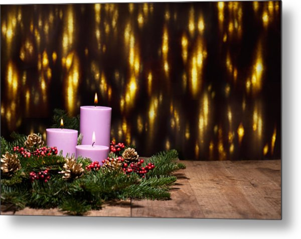 Three Candles In An Advent Flower Arrangement Metal Print