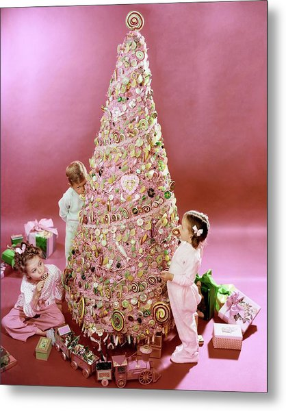 Three Children Eating A Candy Christmas Tree Metal Print