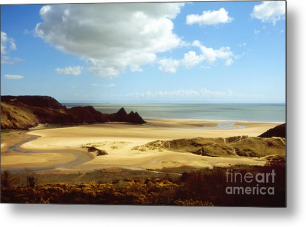 Three Cliffs Bay On The Gower Metal Print